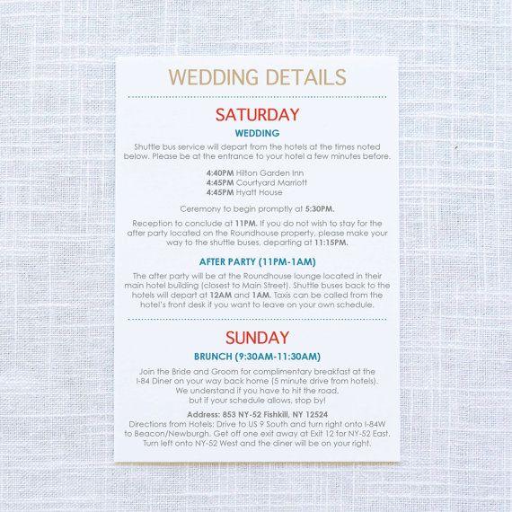 Wedding Weekend Itinerary Welcome Gift Bags Wedding