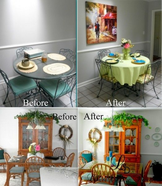 Kitchen Staging Before And After: Simple Decorating: Adding Color To A Kitchen And Dining