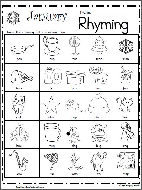 Rhyming Worksheet For January Kindergarten Worksheets Pinterest