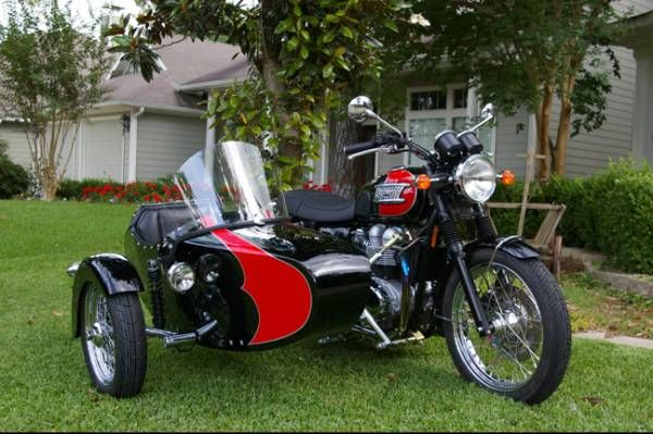 red & black triumph with sidecar   motorcycle's with sidecars