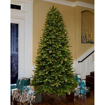 Ge 12 Ft Artificial Aspen Fir Pre Lit Led Easy Light Technology Dual Color Christmas Tree Pre Lit Christmas Tree Slim Christmas Tree Christmas Tree