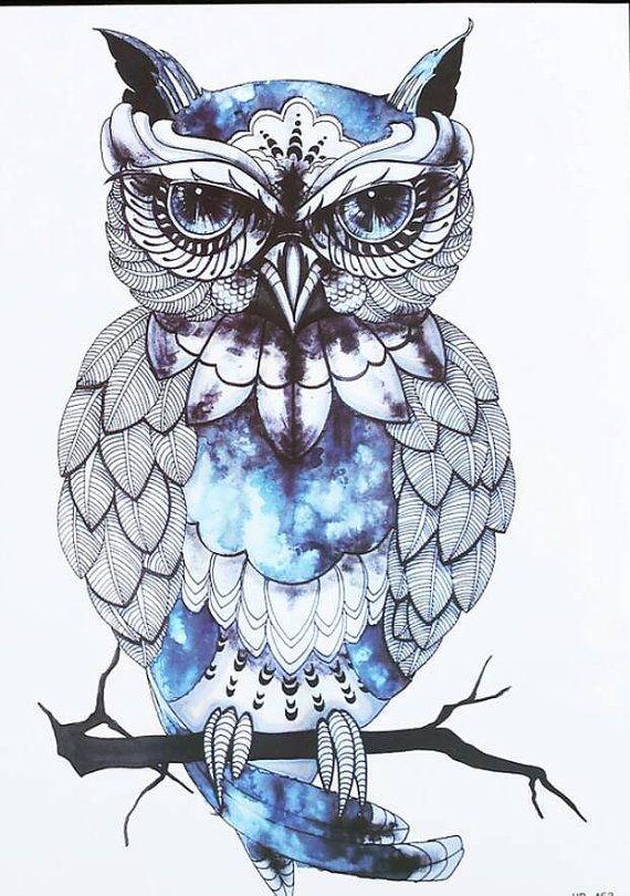 Blue Owl Temporary Tattoo Owl Tattoo Design Owls Drawing Owl Tattoo