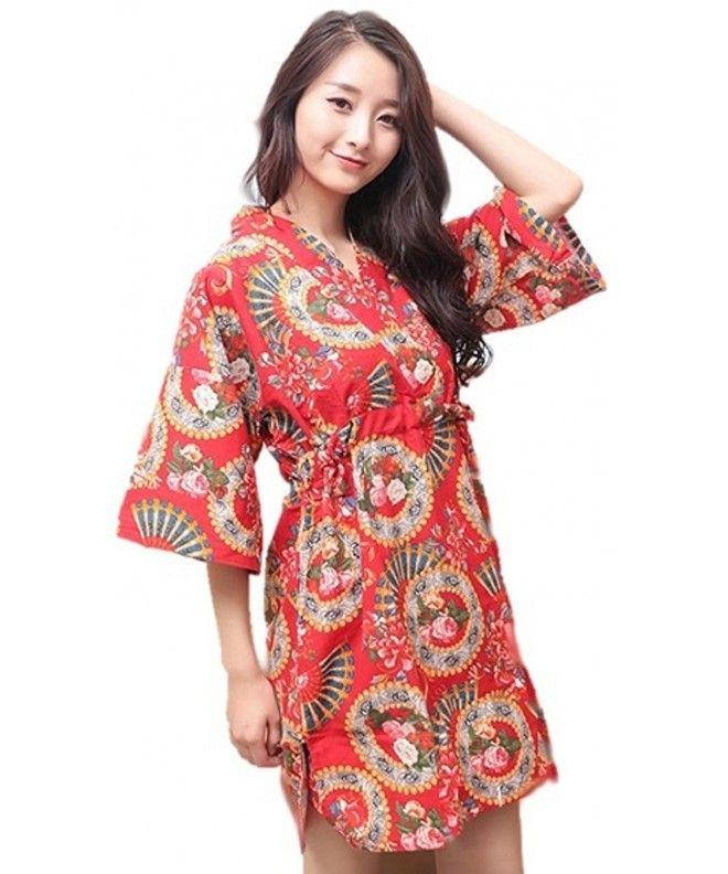 Cotton Kimono Pajamas Sleepwear - Asian Red for Women - CH187QDAGQ3 ... 52dece681