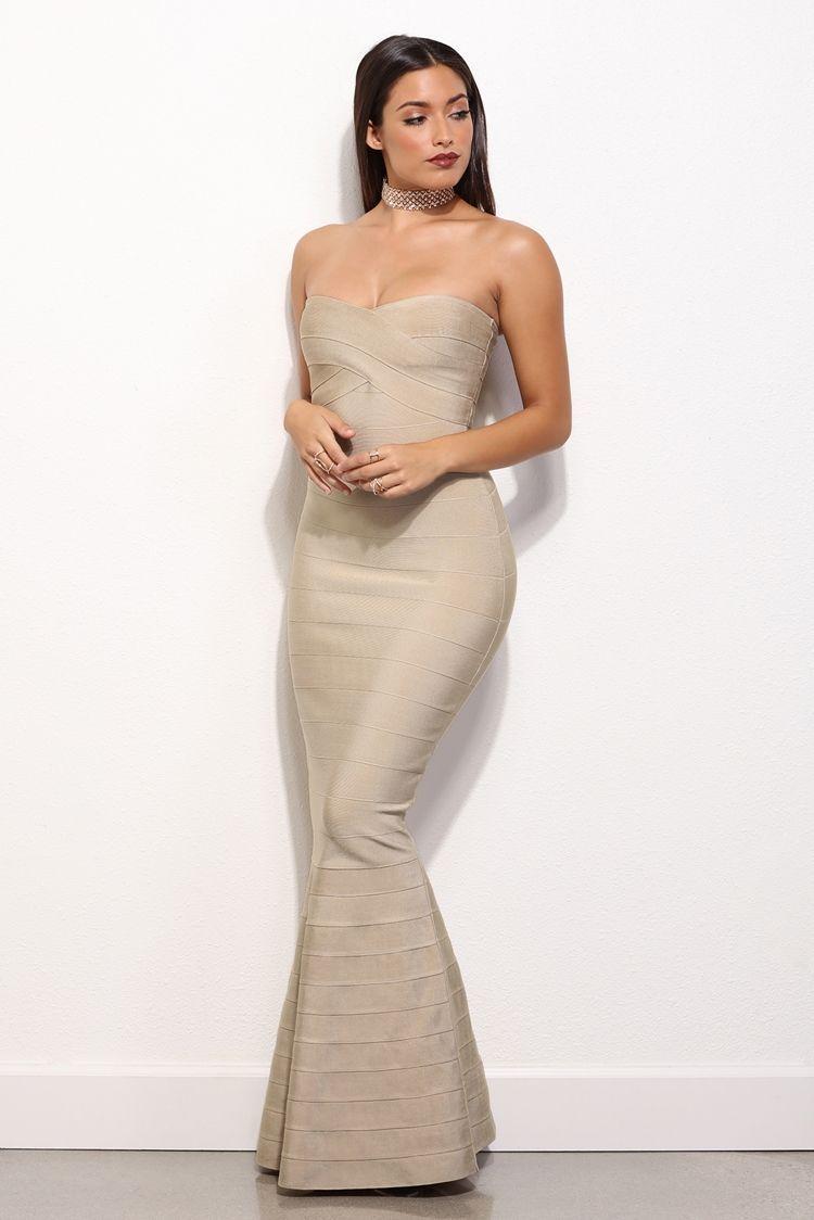 f0f0058be25  isabellegeneva Marci Taupe Bandage Homecoming Dress