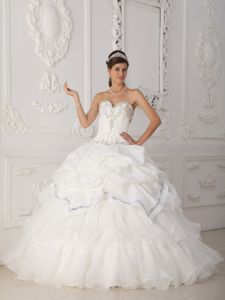 feedfdf0a7 Sweetheart Beading Ruffled Layers White Organza Quinceanera Dress ...