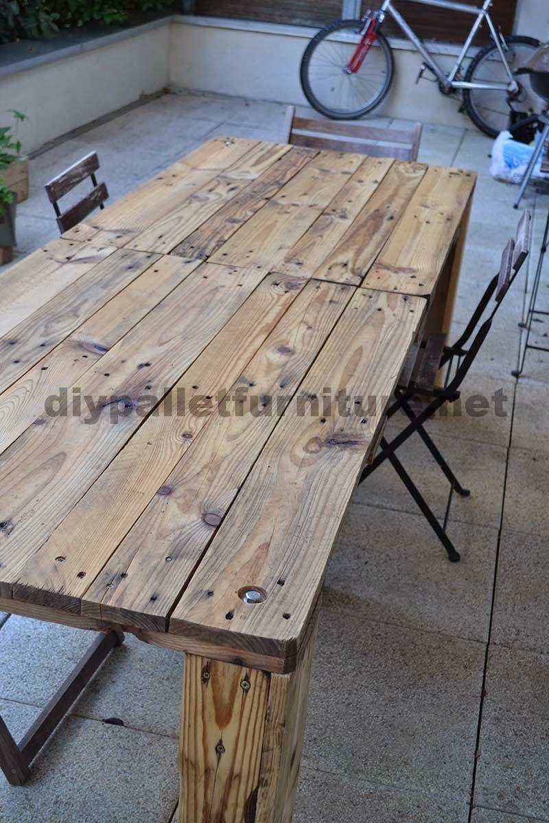 Muebles de palets como hacer f cilmente una mesa con un - Mesas de palets de madera ...