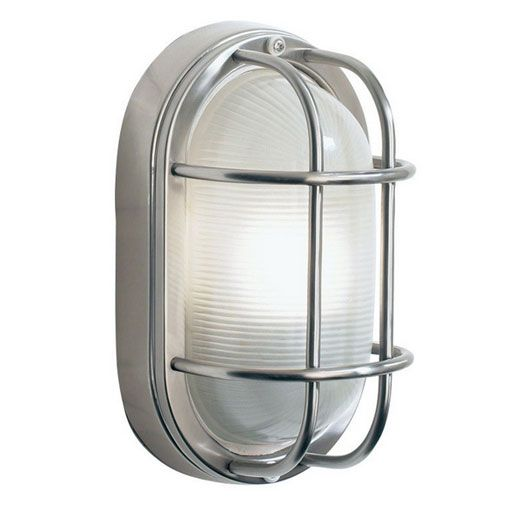 House   wall lights with metal cage   Outdoor  Salcombe wl ip44 oval cage ss 60w e27   Stainless steel  Steel and  . Marine Grade Stainless Steel Outdoor Wall Lights. Home Design Ideas