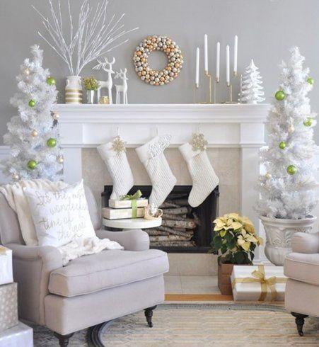 nos id es canon pour une d co blanche de no l chemin e blanche d co de no l et chemin e. Black Bedroom Furniture Sets. Home Design Ideas