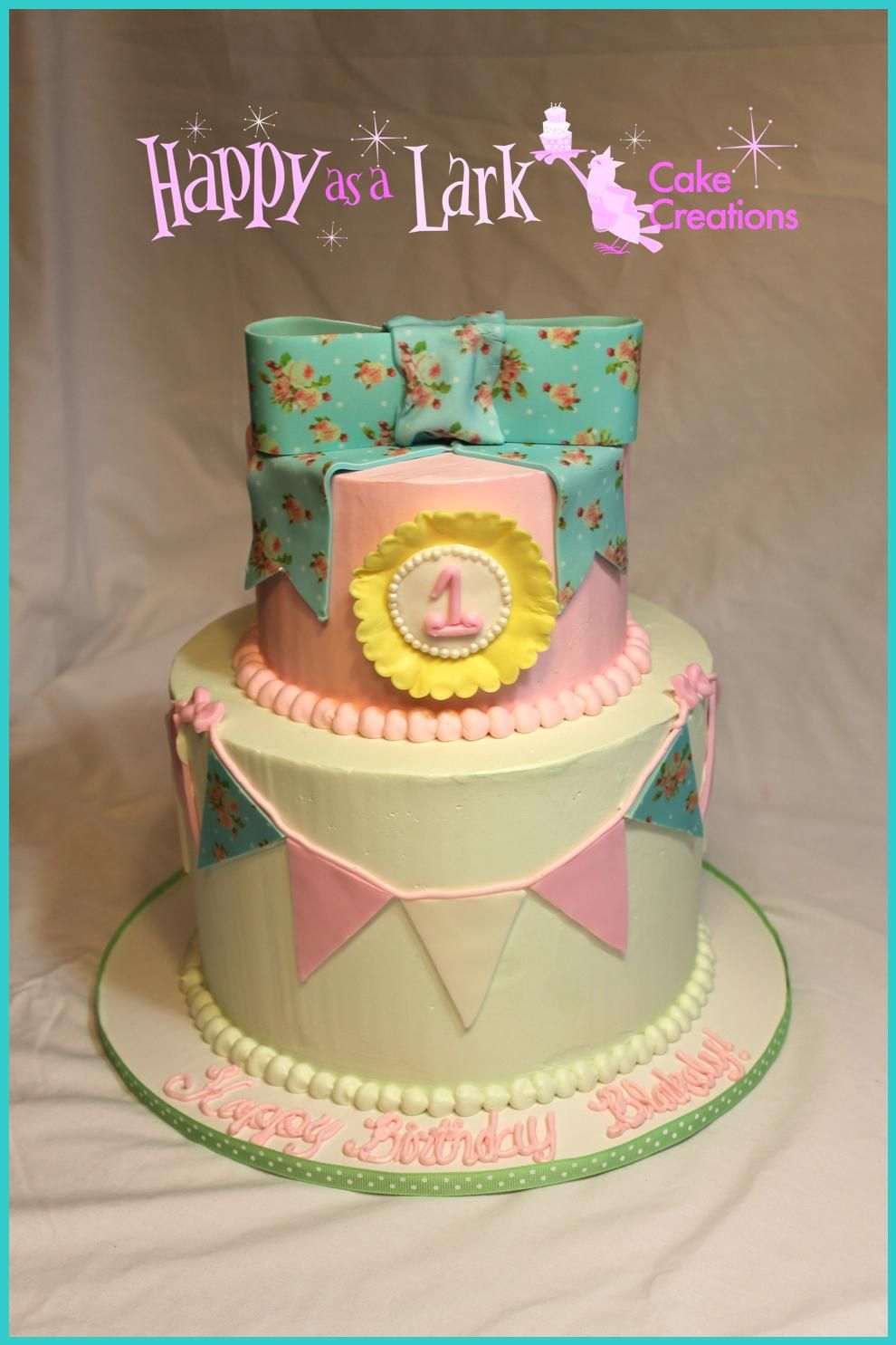 Shabby Chic 1st Birthday Cake All Buttercream With Fondant Accents