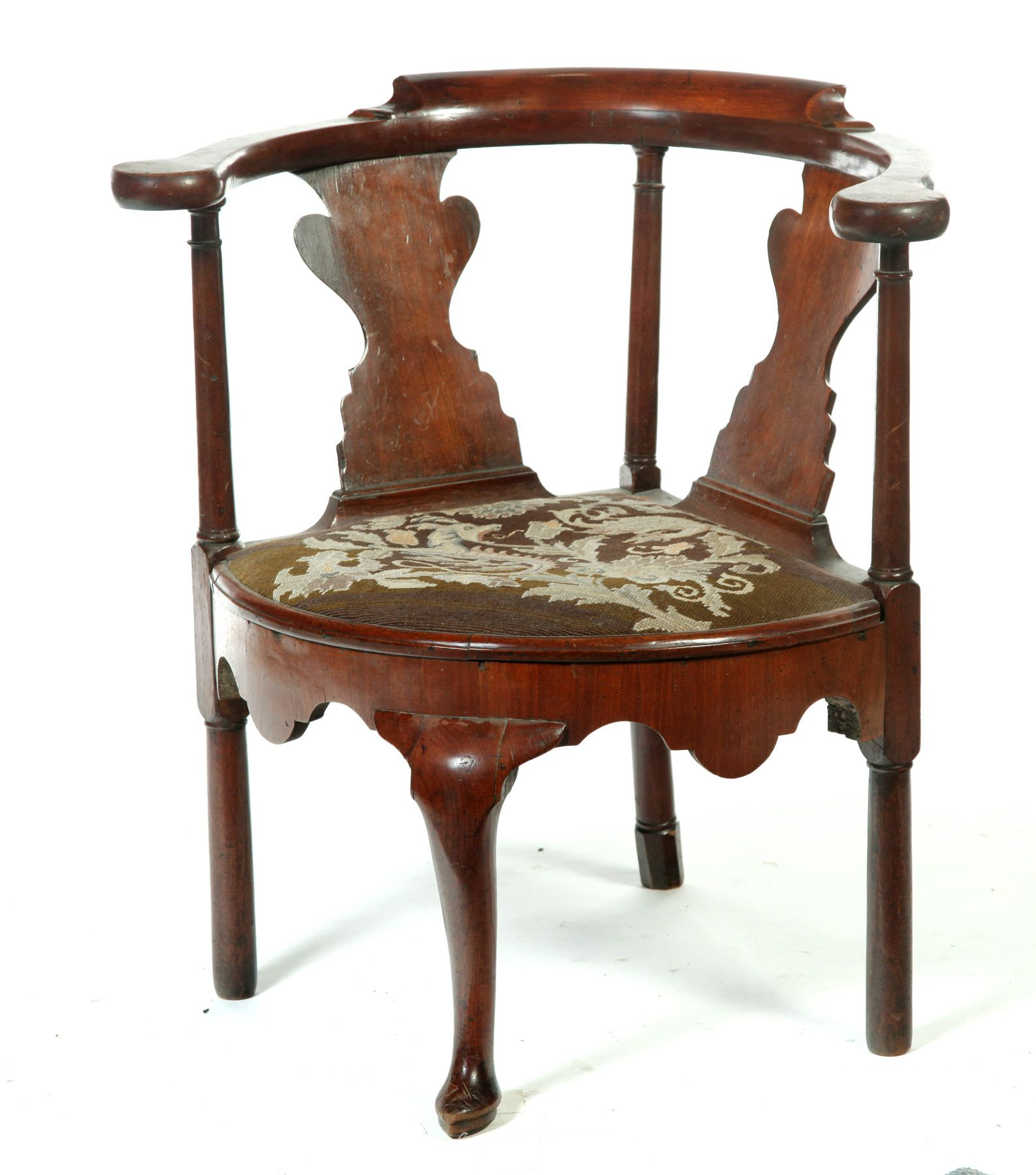 English Queen Anne Corner Chair Mid 18th Century Mahogany Vase Splats And Slipper Front Foot Reupholstered Bedroom Furniture For Sale Chair Corner Chair