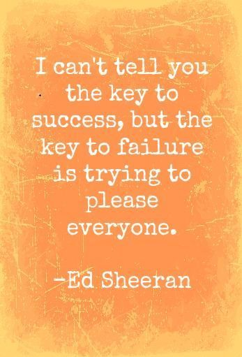 I can't tell you the key to success, but the key to failure is trying to please everyone ~ Ed Sheeran