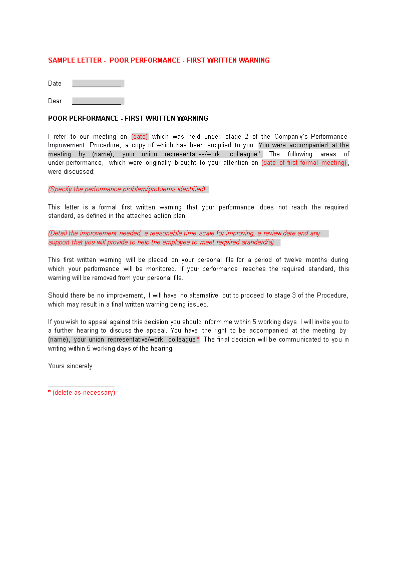 Written Warning Letter For Poor Performance from i.pinimg.com