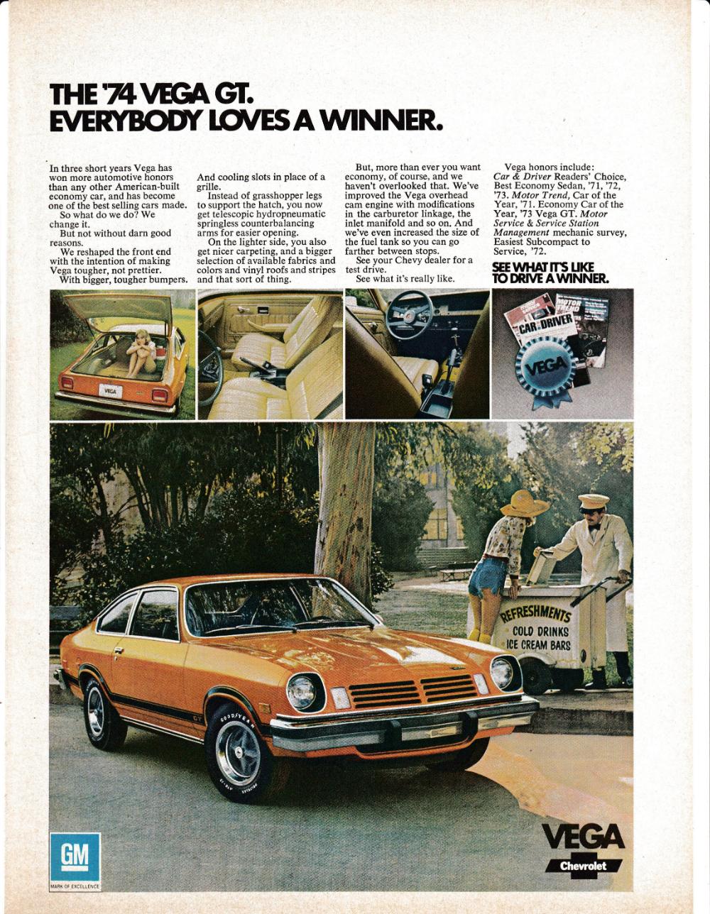 1974 Chevrolet Vega GT-Ice Cream Cart -Drive A Winner-Original Magazine Ad