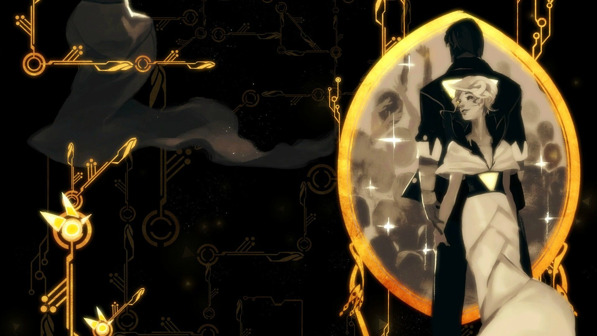 Crash() and Breach(), Red and her lover (1920×1080) #Transistor wallpaper