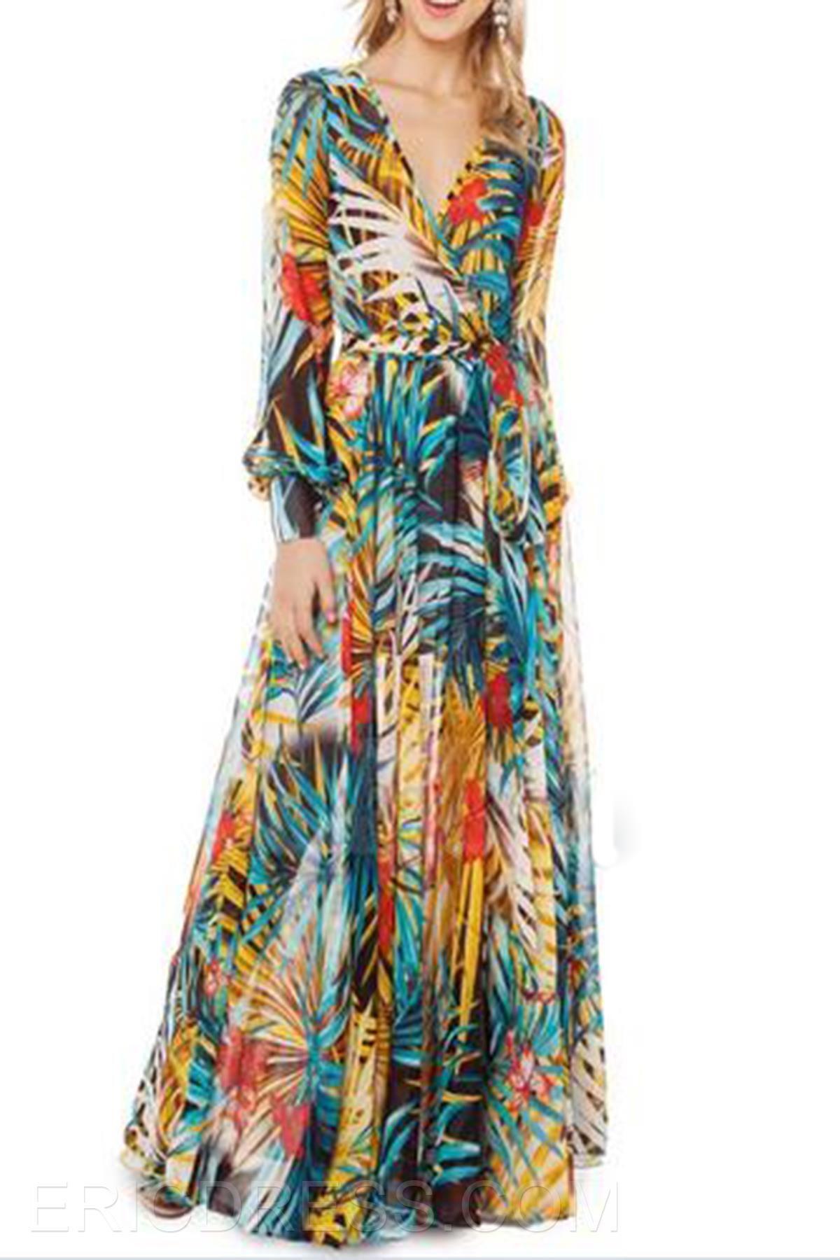 d86d9c69756a Beautiful V-Neck Long Sleeve Floral Print Allover Maxi Dress Maximum Style-  ericdress.com 10967635