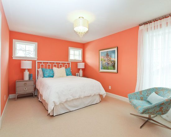 Coral walls and teal accents modern cottage dream home for Teal paint for bedroom