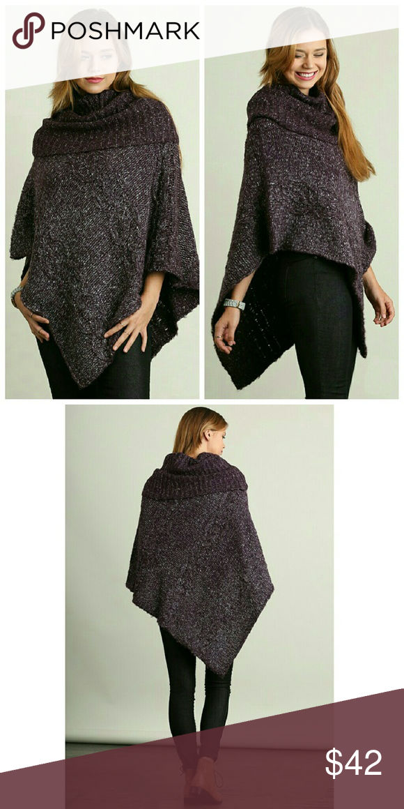 Purple Cowl Neck Sweater Boutique | Cowl neck, Ponchos and Gray