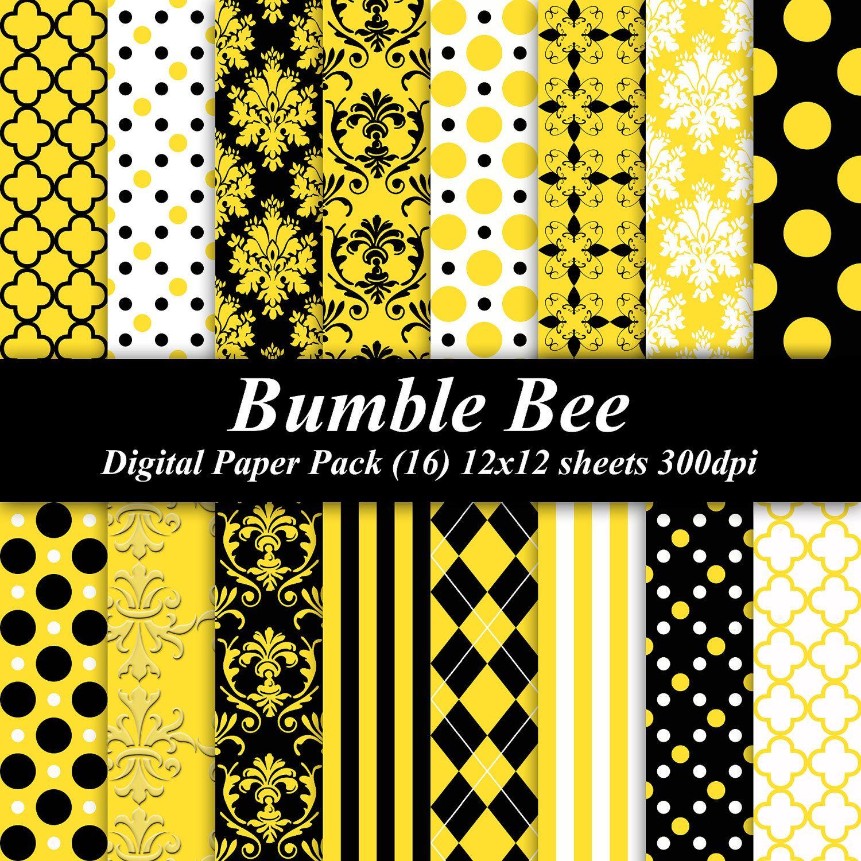 BUY 2 GET 1 FREE Bumble Bee Digital Paper Pack invitations – Buy Birthday Invitations