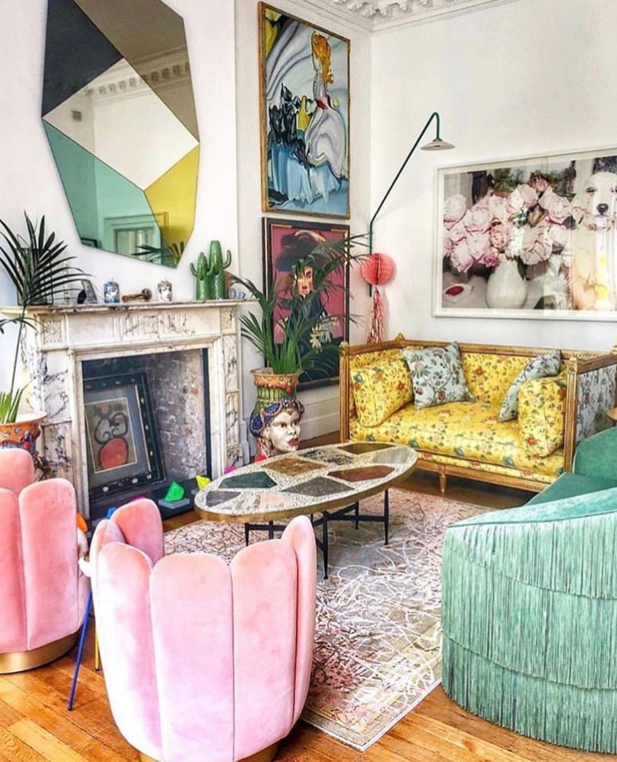 Colorful And Eclectic Living Room With Traditional Touches