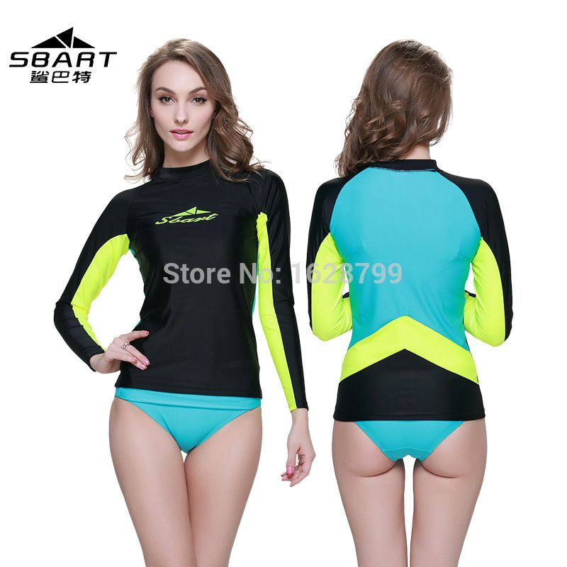 SBART women lycra surfing wetsuit lycra rashguard colorful tight Shirts  Women Sleeved Swimsuit #Affiliate