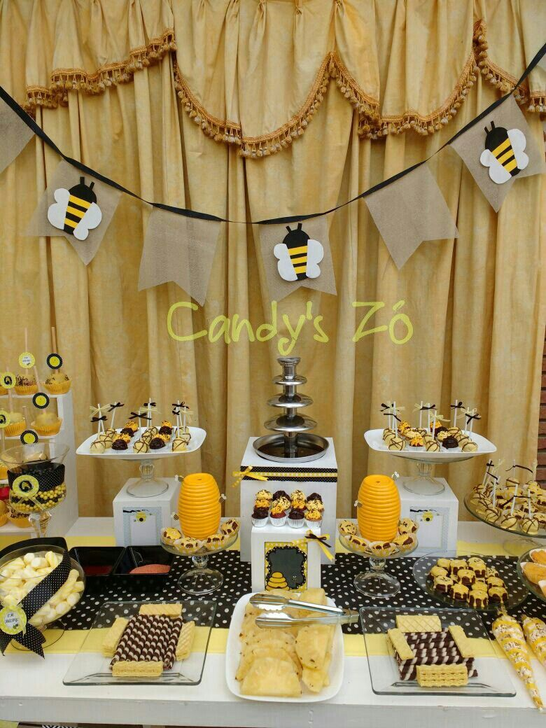 Abejitas Candy Bar Amarillo Negro Tartas Miel Baby Shower