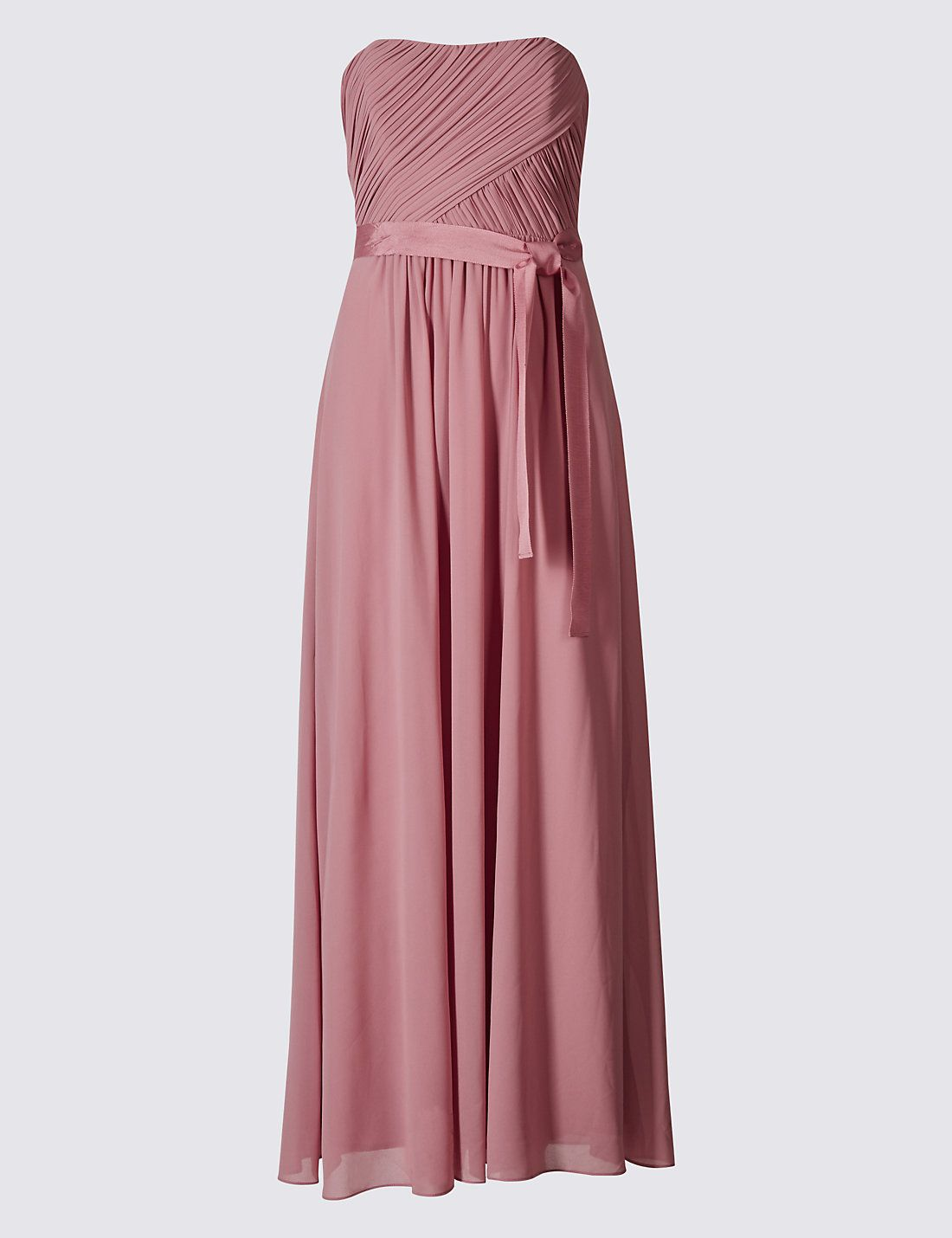 Strapless Pleated Maxi Dress with Belt in Antique Pink | Your dream ...