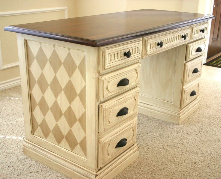 Lovely Hand Painted Office Desk Makeover.   PAINTED FURNITURE INSPIRATION