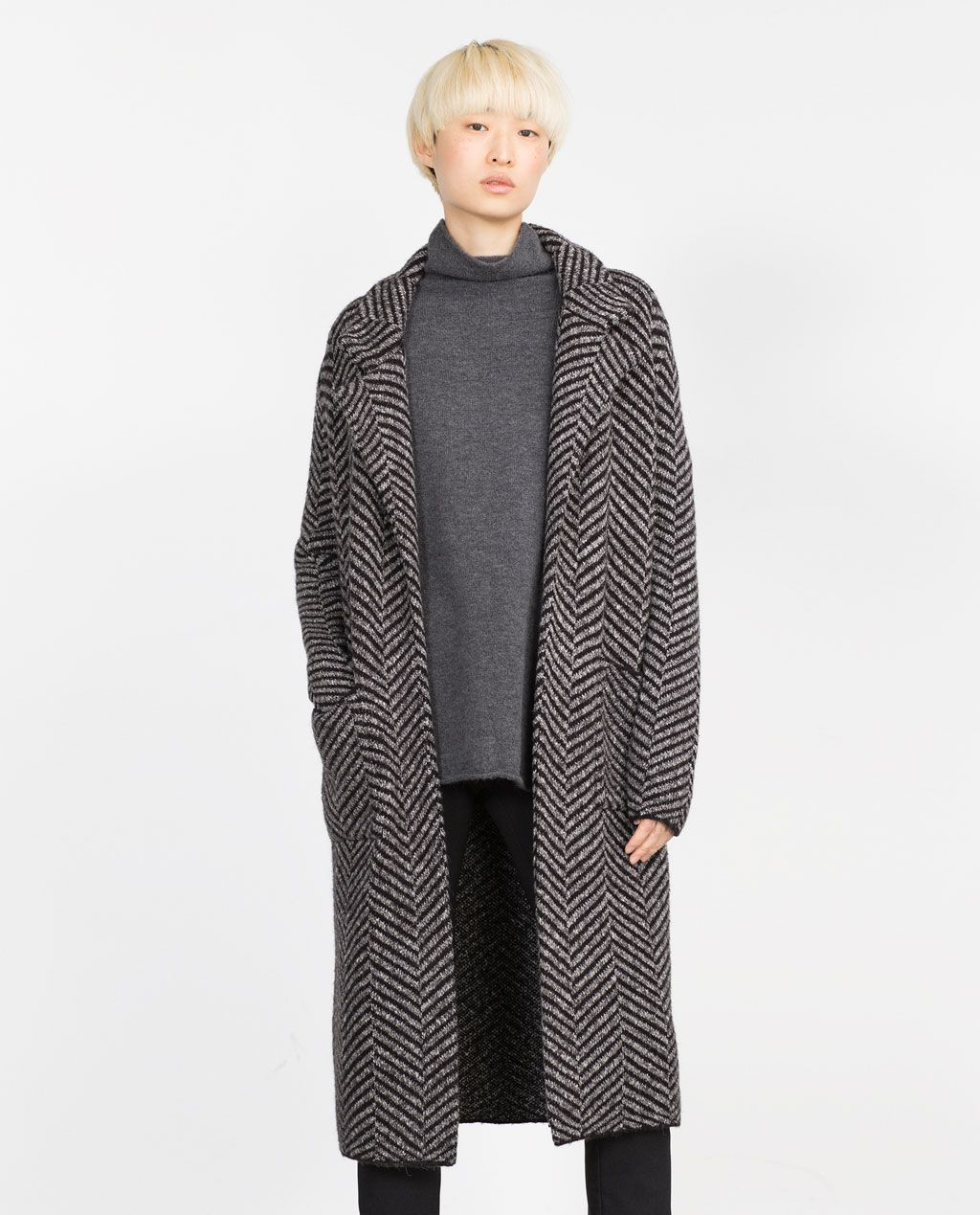 0f3c7885ca4f4 HERRINGBONE COAT-Long Jackets-Knitwear-WOMAN   ZARA United States ...