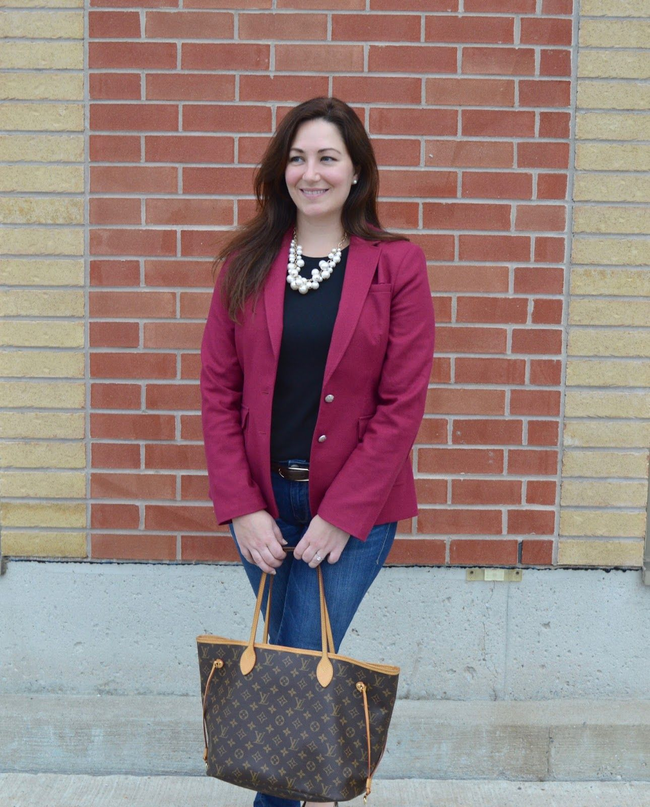 Pink blazer, pearls and Louis Vuitton