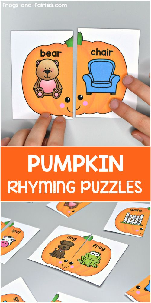 Pumpkin Rhyming Puzzles is part of Rhyming activities kindergarten, Pumpkin activities preschool, Kindergarten learning activities, Rhyming activities, Literacy activities kindergarten, Autumn activities for kids - These FREE Pumpkin Rhyming Puzzles are a great way for your kids to practice matching words that rhyme!