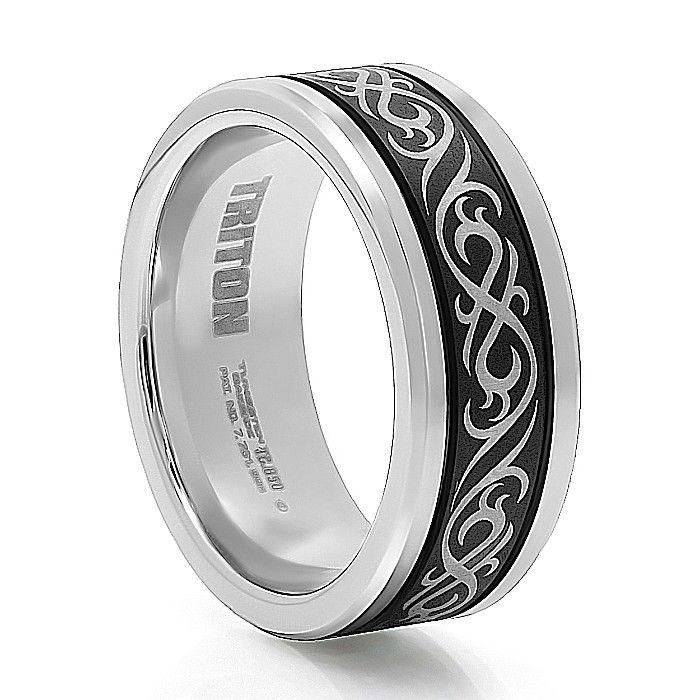 Triton Black And White Tungsten Wedding Band Mens Wedding Bands Tungsten Tungsten Wedding Bands Tungsten Carbide Wedding Bands