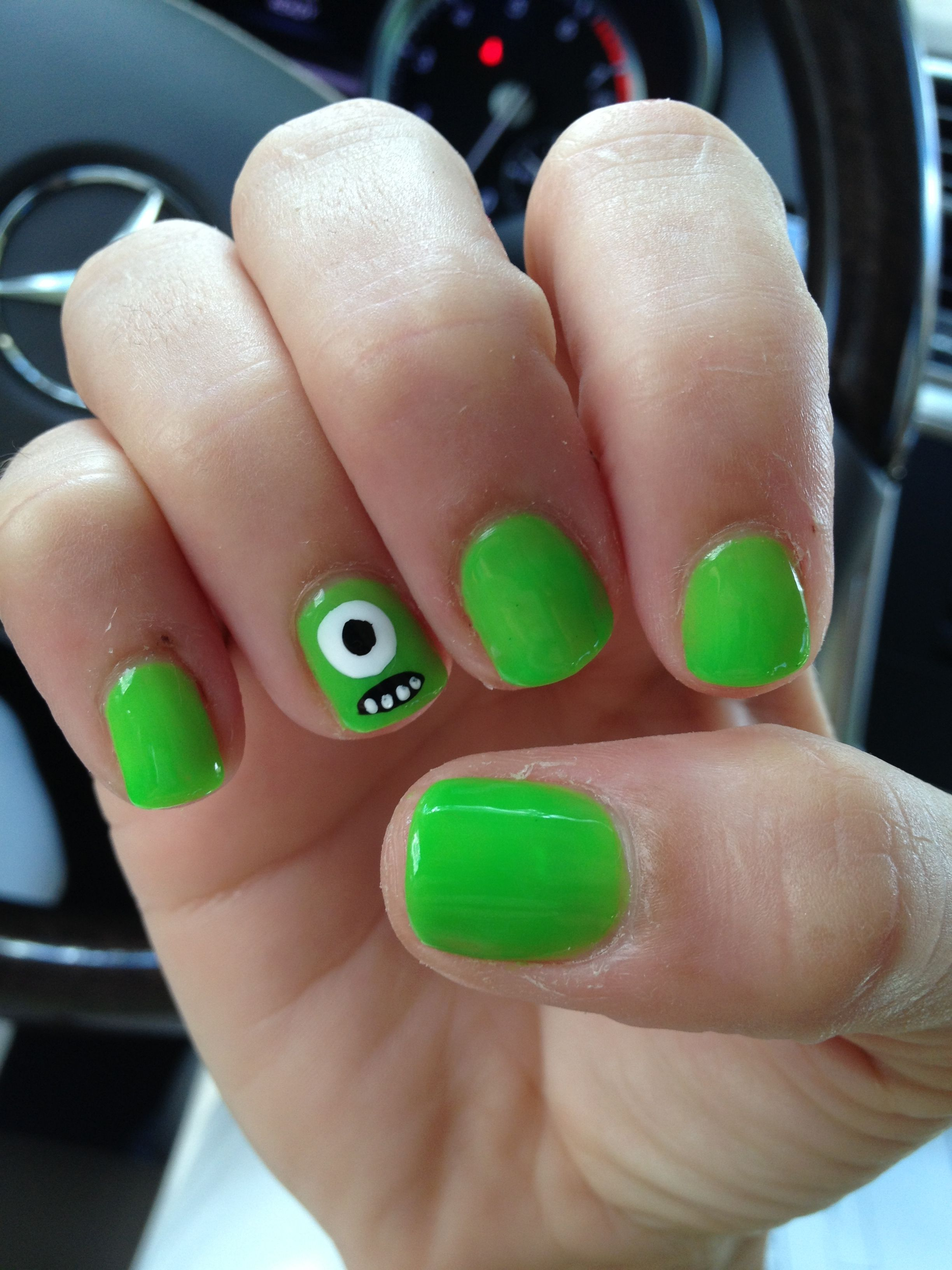 Monsters Inc/ Monsters University Mike Wazowski Gelish Nails | Nails ...