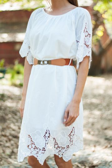 Hooked On Lace Dress, White