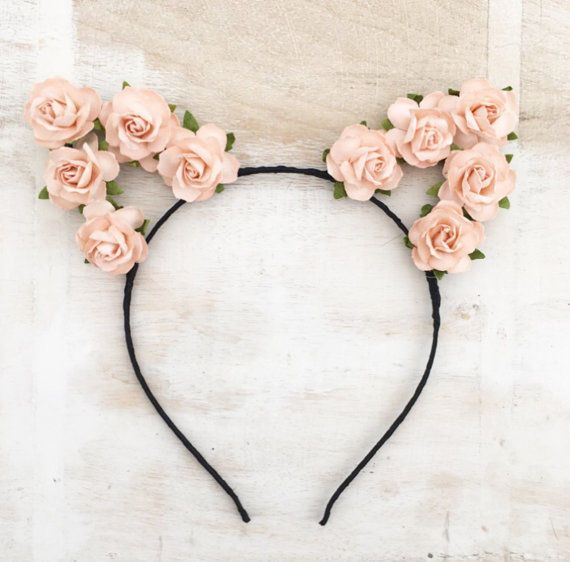 Cute Black Ribbon Wrapped Pastel Peach Flower Cat Ears Headband Kawaii In Clothes Shoes Acc Hair Band Accessories Kawaii Accessories Flower Hair Accessories