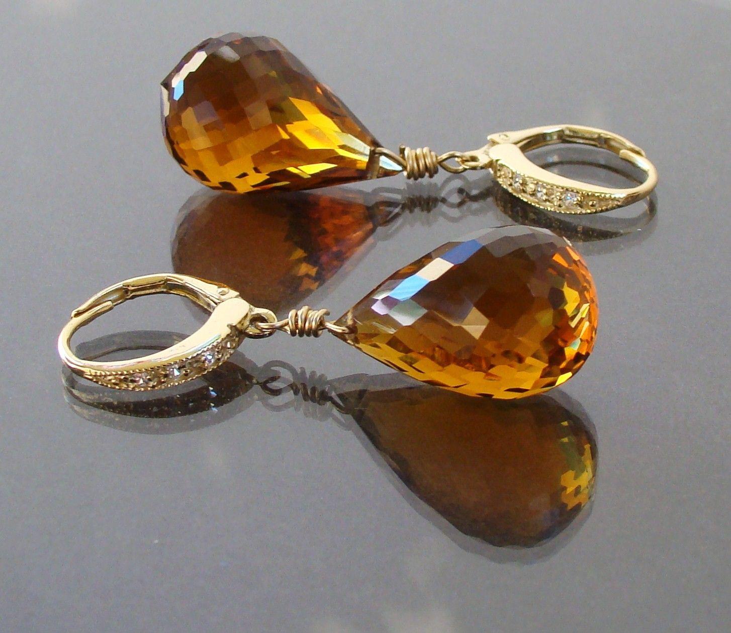 Luxury Madeira Citrine Gold Earrings