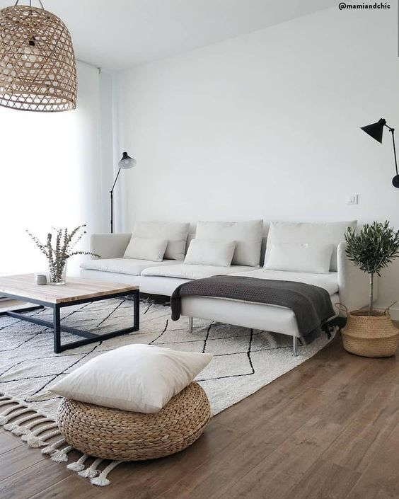 Modern living room, Scandinavian design, natural elements, plants, white couch, white carpet, minimalism #decofuture