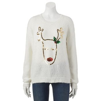 It's Our Time Sequin Reindeer Ugly Christmas Sweater - Juniors