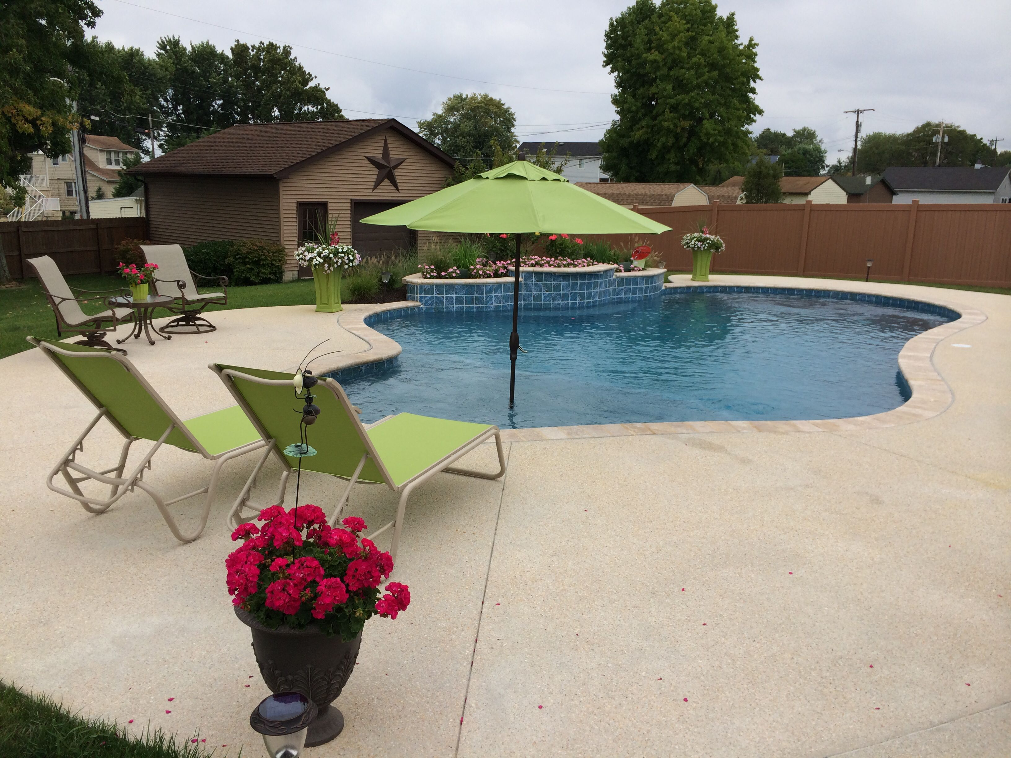 Wonderful Pool Finish Ideas For You To Copy: A Beautiful All Tile Raised Beam Pool With A Tahoe Blue Diamond Bright Interior Finish