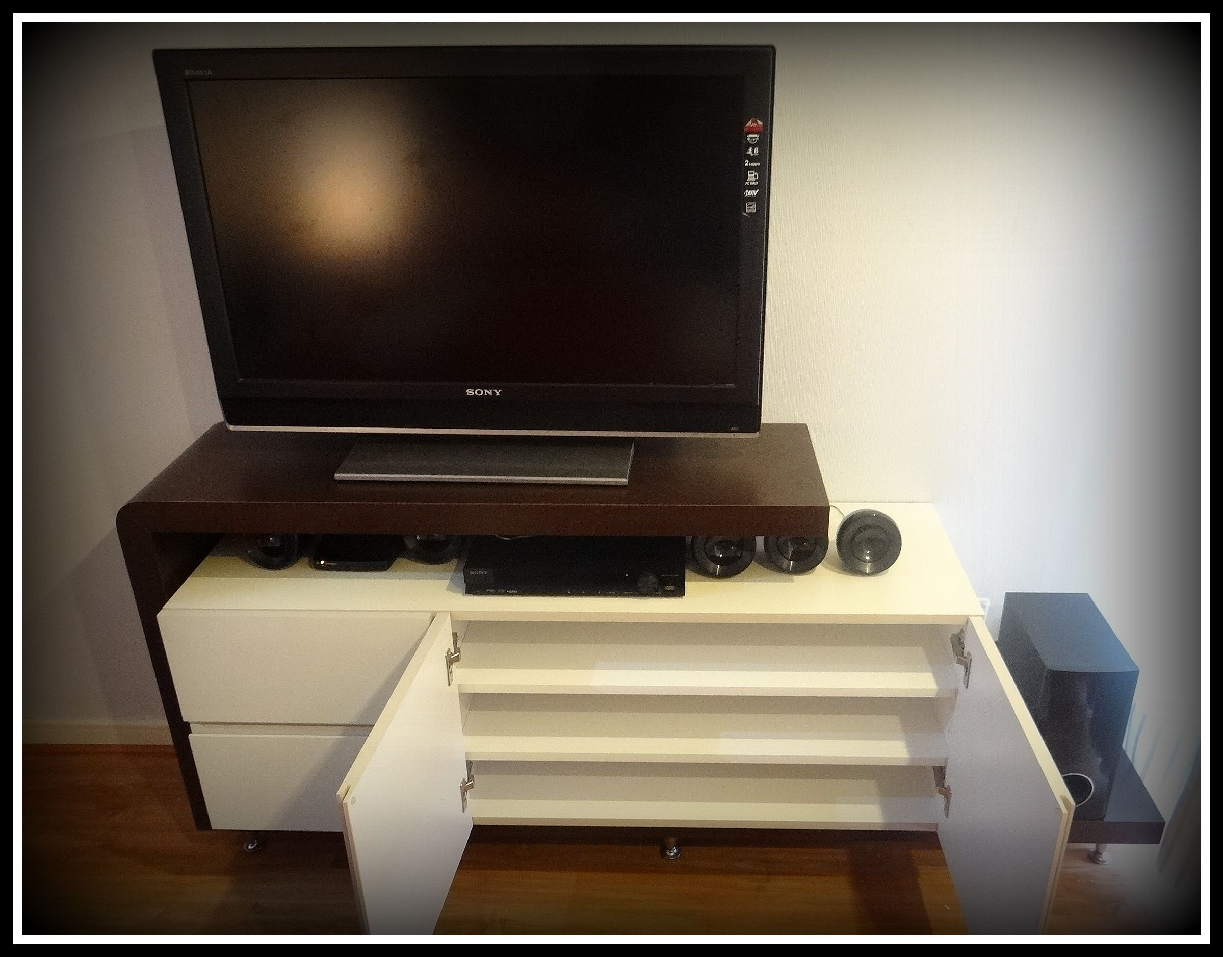 Muebles Para Cd Mueble Bifé Enchapado En Duotono Superficie Para Tv Y