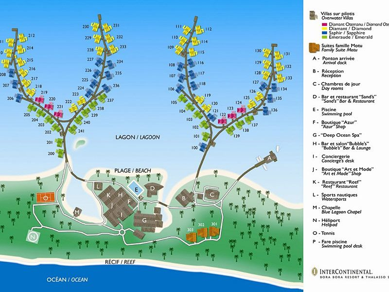 Hotel Map Of The Intercontinental Bora Bora Resort Borabora