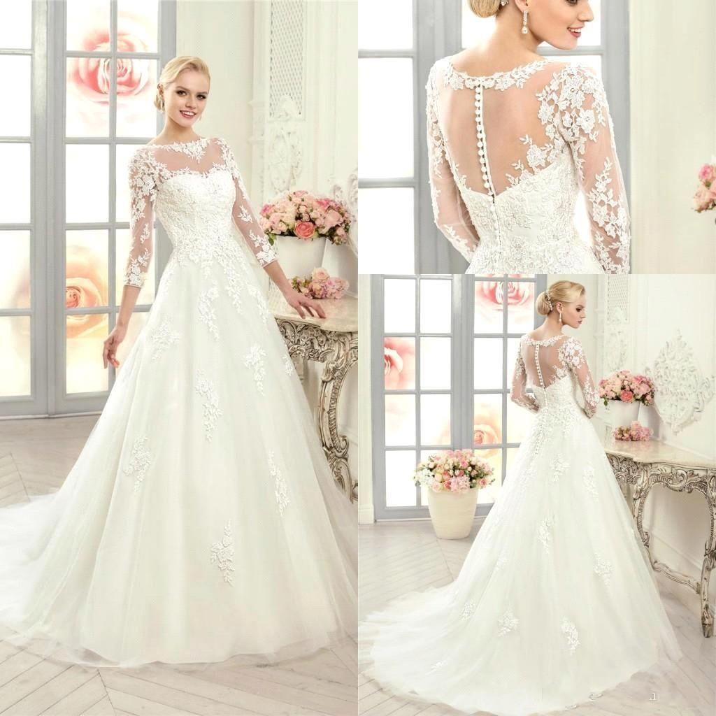 2016 Long Sleeves Lace Wedding Dresses A Line Sheer Bateau