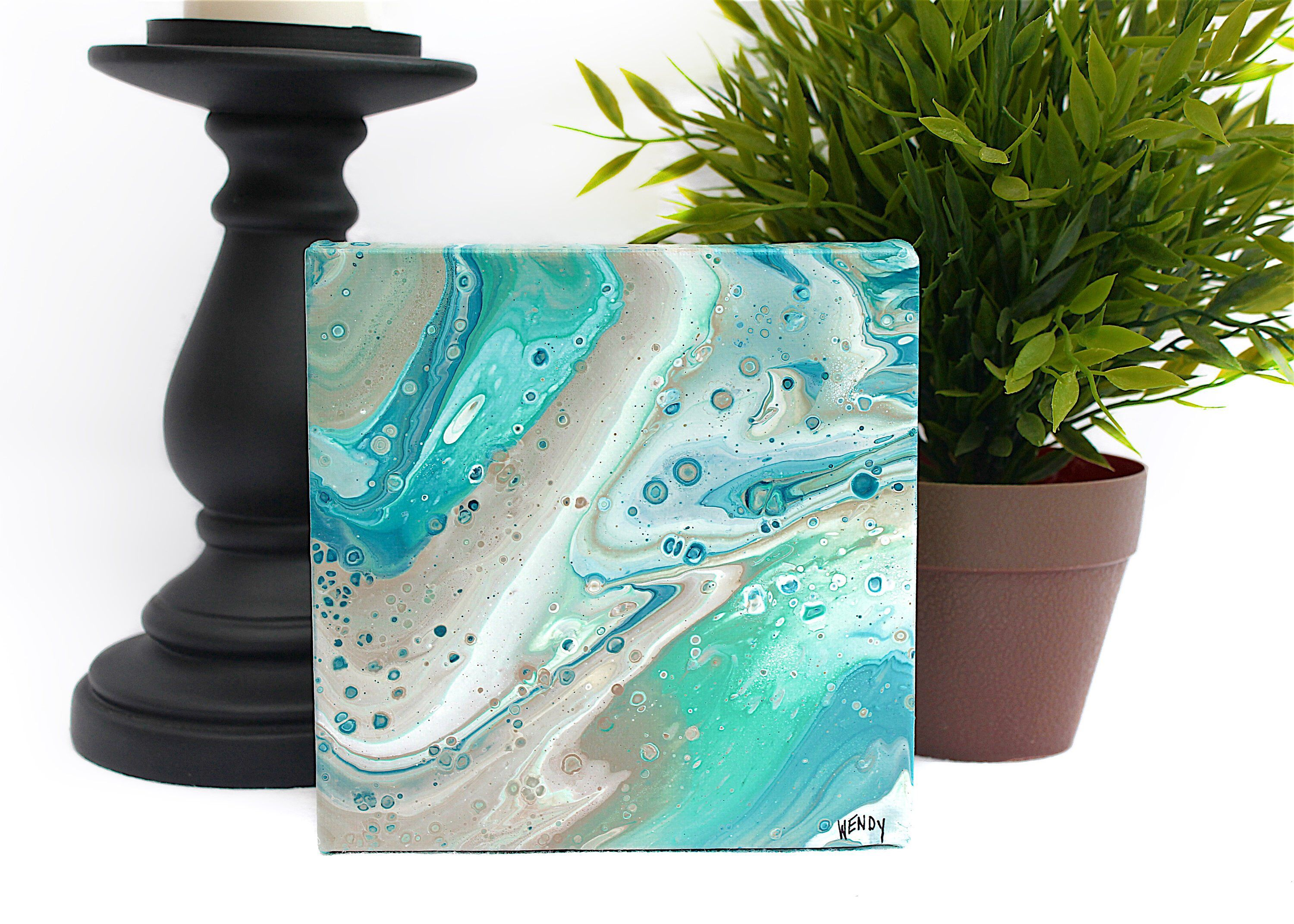 Original abstract beach x square canvas pour painting blue teal