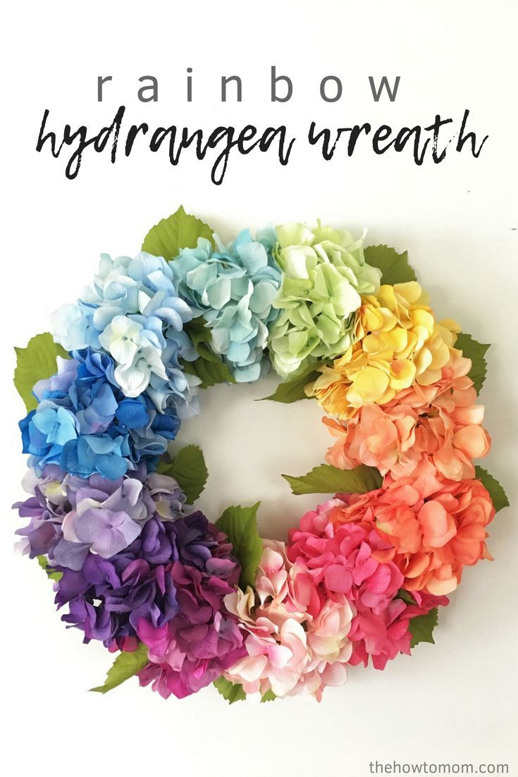 Info's : How to Make a Rainbow Hydrangea Wreath - easy and stunning!
