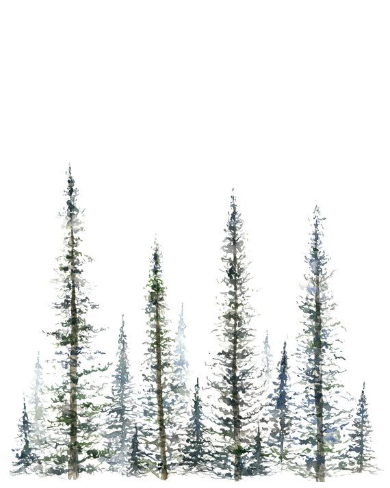 Pine Trees Art Print Tree Painting Greenery Christmas Tree