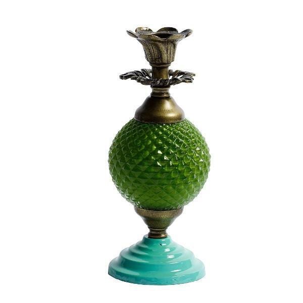 Se - Lille lyseholder med grøn turkis udsmykning i fransk landstil hos Louis & Ludvig