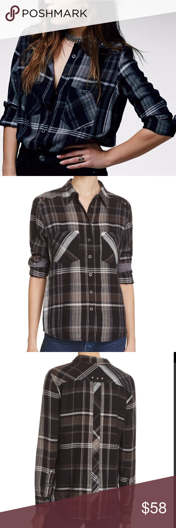 Button up flannel shirts  NWT Free People Wesley Plaid Black Button Up Top Boutique  Black