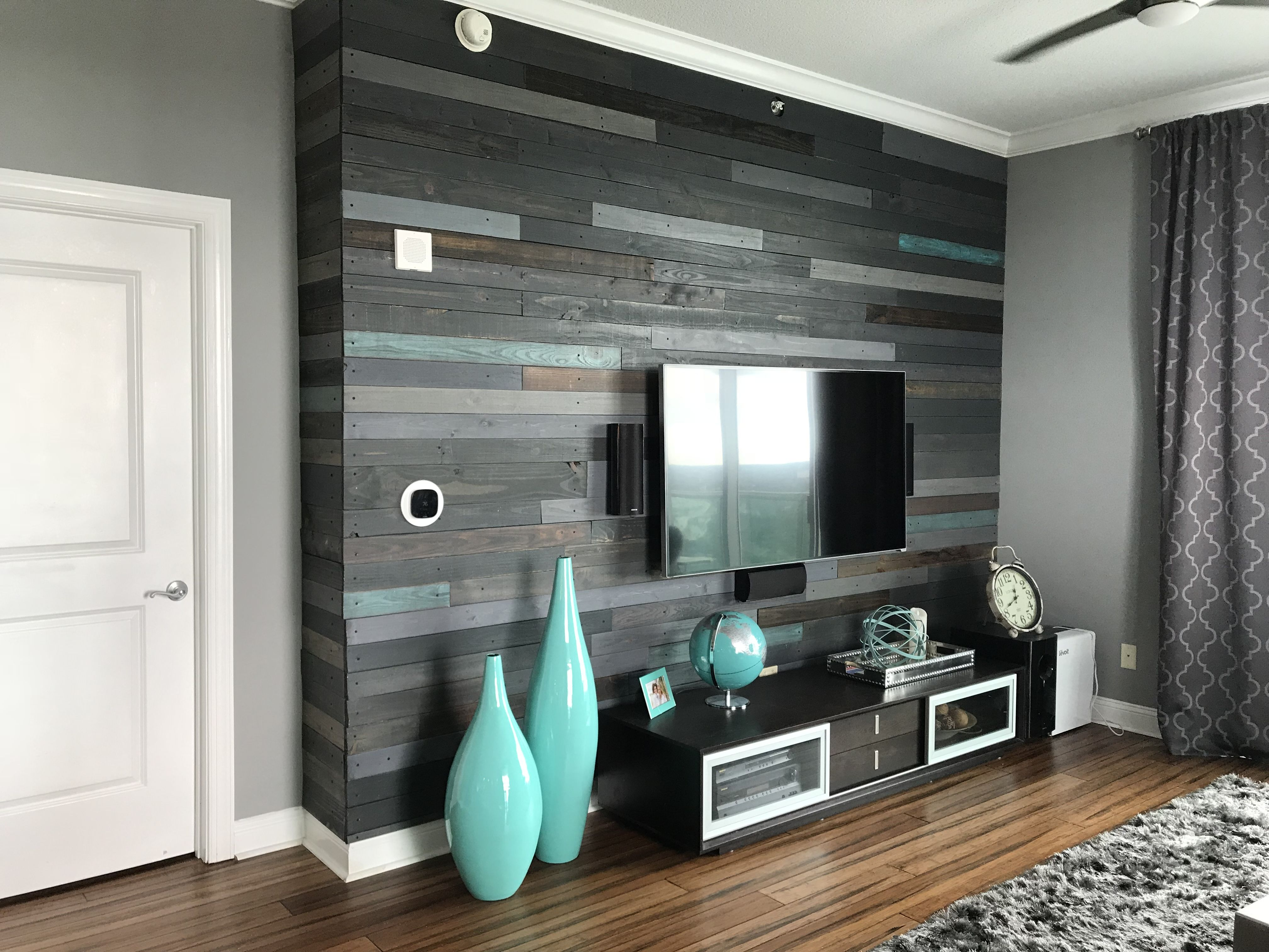 Pallet Wall Accent Wall Dark Grey Light Grey Brown And Teal Reclaimed Wood Accent Wall Wood Accent Wall Accent Wall