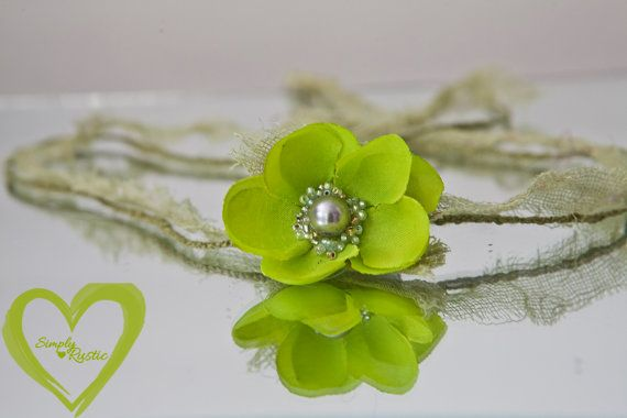 Beautiful Baby Head tie for newborns in bright lime greens w glass bead center pixie style chic baby photo shoots fits all *SHIPS FREE
