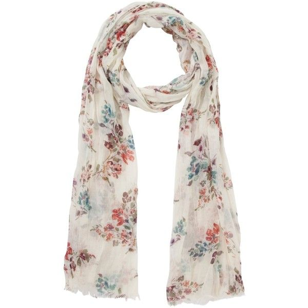Fat Face Hollyhocks Floral Print Lightweight Scarf, Pale Turquoise , Cream