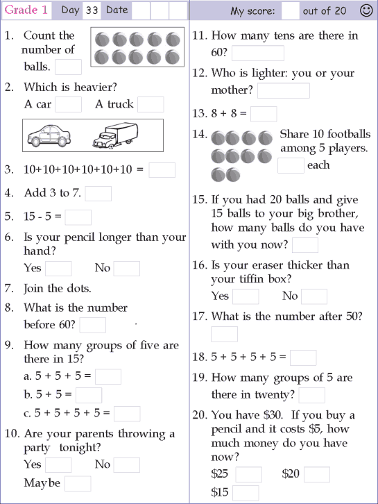 Math Worksheets For Grade 1 Printable Math Worksheets 1st Grade Math Worksheets Free Printable Math Worksheets